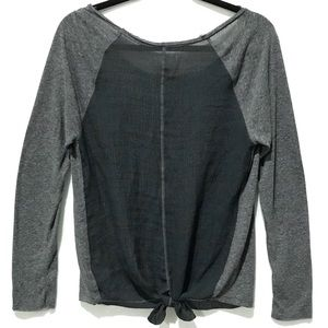 Aeropostale Textured Sheer Knotted Tie Back Top